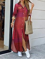 cheap -Women's Shirt Dress Maxi long Dress - Long Sleeve Geometric Color Block Print Spring Summer Shirt Collar Plus Size Work Casual Loose 2020 Blue Red Yellow Wine Khaki Gray S M L XL XXL 3XL 4XL 5XL