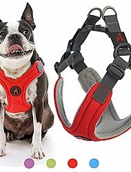 cheap -dog harness - red, medium - escape free memory foam step-in small dog harness - perfect on the go four-point adjustable - no pull harness for small dogs or cat harness