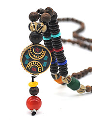 cheap -Women's Pendant Necklace Beaded Necklace Retro Friends Precious Joy Gemini Lucky Luxury Elegant Vintage Ethnic Wooden Resin Alloy Brown 75 cm Necklace Jewelry 1pc For Sport Gift Prom Beach Festival