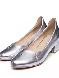 cheap -Women's Heels Cuban Heel Round Toe Casual Daily Solid Colored PU Walking Shoes Almond / Black / Pink