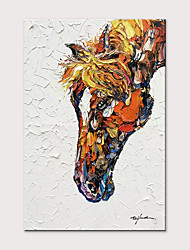 cheap -Oil Painting Hand Painted - Abstract Animals Modern Rolled Canvas (No Frame)