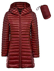 cheap -Women's Plus Size Lightweight Down Jacket Hooded Slim Warm Outdoor Sports Travel XL XXL 3XL 4XL Red