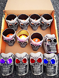 cheap -Halloween Party Toys LED Lighting Electronic Candle Light 12 pcs Skull Skeleton Twinkling Plastic Kid's Adults Trick or Treat Halloween Party Favors Supplies
