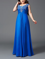cheap -A-Line Plus Size Elegant Wedding Guest Formal Evening Dress V Neck Sleeveless Floor Length Chiffon with Ruched Appliques 2021
