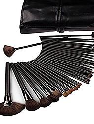 cheap -makeup brushes, makeup brush set,  32 pcs natural synthetic bristle wooden handle cosmetics foundation eyeliner mascara eyeshadow face powder blush lipstick makeup brush black