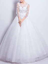 cheap -Ball Gown Wedding Dresses Jewel Neck Floor Length Tulle 3/4 Length Sleeve Romantic Elegant Illusion Sleeve with Beading Appliques 2020