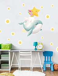 cheap -New Cartoon Stickers Stars Whale Self Adhesive Wall Stickers Creative Children's Room Wall Decoration