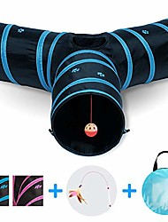 cheap -cat tunnel - also included is a ($5 value) interactive cat toy - toys for cats - cat tunnels for indoor cats - cat tube - collapsible 3 way pet tunnel - great toy for cats & rabb (blue)