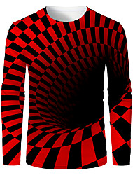 cheap -Men's Daily T-shirt 3D Abstract Graphic Long Sleeve Tops Basic Round Neck Black / Red