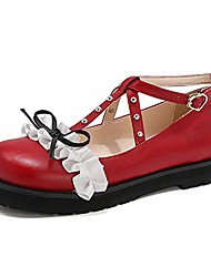 cheap -women fashion block chunky heel bow rivet buckle strap platform ruffles round toe cosplay lolita mary janes shoes(red,8)
