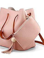 cheap -fashion tassel buckets tote handbag, women messenger hobos shoulder bags, crossbody satchel bag- light pink
