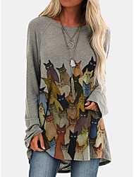 cheap -Women's T Shirt Dress Tee Dress Knee Length Dress - Long Sleeve Cat Print Dress Patchwork Print Casual Loose 2020 Blue Purple Blushing Pink Gray S M L XL XXL 3XL 4XL 5XL