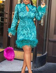 cheap -Women's Sheath Dress Short Mini Dress - Long Sleeve Print Patchwork Print Fall Shirt Collar Elegant Party 2020 Green M XL