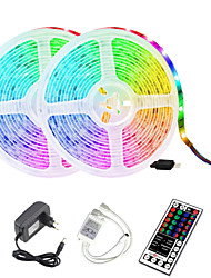 cheap -2x5M Waterproof LED Light Strips Light Sets RGB Tiktok Lights 2x300 LEDs 2835 SMD 8mm 44Keys 1BIN2 IR Remote Controller Cuttable Self-adhesive Soft Light Strip DC12V