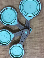 cheap -4Pcs/set Measuring Cup Folding Measuring Spoon Set Coffee Sugar Scoop Baking Cooking Kitchen Silicone Measuring Cups Tool