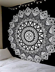 cheap -Wall Tapestry Art Decor Blanket Curtain Hanging Home Bedroom Living Room Dorm Decoration Polyester Black White Mandala Views Indian
