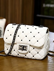 cheap -Women's Bags PU Leather Polyester Crossbody Bag Chain Chain Bag Daily Holiday White Black