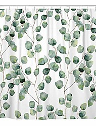 cheap -shower curtain watercolor green floral eucalyptus round leaves pattern branches home bathroom decor polyester fabric waterproof 72 x 72 inches set with hooks