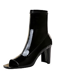 cheap -Women's Boots Chunky Heel Peep Toe Booties Ankle Boots Sexy Minimalism Party & Evening Patent Leather Solid Colored Black / Booties / Ankle Boots / Booties / Ankle Boots