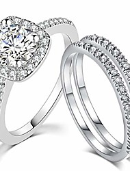 cheap -three-in-one bridal wedding engagement anniversary statement eternity ring set (silver, 11.5)