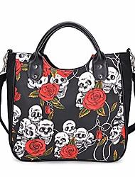cheap -women fashion rivet handbag purse canvas punk tote with shoulder strap crossbody bag large capacity black (rose-skull)