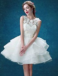 cheap -Ball Gown Jewel Neck Short / Mini Lace / Tulle Bridesmaid Dress with Tier / Appliques