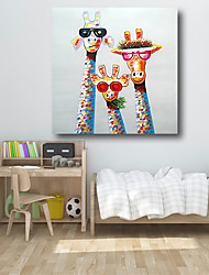 cheap -Oil Painting Hand Painted - Animals Pop Art Comtemporary Modern Stretched Canvas