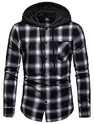 cheap -men's long sleeve hoodie plaid flannel button down shirt ba0245-black-xl