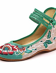 cheap -women chinese embroidered flower flat bridal mary jane ballet shoes(6 b(m) us,green)
