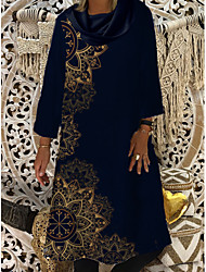 cheap -Women's Shift Dress Knee Length Dress - 3/4 Length Sleeve Geometric Print Spring Fall Casual vacation dresses Loose 2020 Blue M L XL XXL 3XL