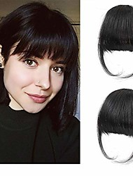 cheap -clip in air bangs remy human hair extensions one piece front neat air fringe hand tied straight flat bangs clip on hairpiece for women & #40;thick natural& #41;