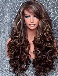 cheap -Synthetic Wig Curly Water Wave Pixie Cut Wig Long Dark Brown Synthetic Hair 26 inch Women's Fashionable Design Party Comfortable Dark Brown
