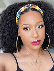 cheap -Human Hair 100% Hand Tied Wig Free Part style Brazilian Hair Afro Curly Kinky Curly Natural Black Wig 150% Density 10-22 inch Women Medium Size Natural Hairline For Black Women Women's Short Long