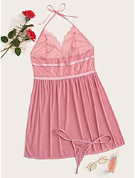 cheap -Women's Backless Mesh Lace Babydoll & Slips Suits Nightwear Jacquard Solid Colored Embroidered Blushing Pink XL XXL 3XL