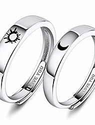 cheap -925 sterling silver anniversary ring adjustable matching rings sun and moon i love you ring promise