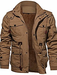 cheap -men's jacket casual military jacket men outerwear fleece hooded winter coat with multi pockets khaki xxl