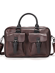 cheap -Men's Bags PU Leather Laptop Bag Briefcase Top Handle Bag Belt Zipper 2020 Office & Career Coffee