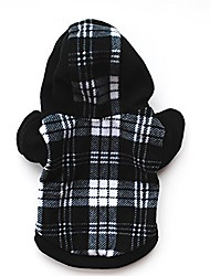 cheap -dog plaid hoodie jacket dog coat fleece pet cold weather clothes for small medium large dogs black white plaid s