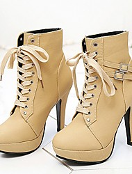 cheap -women sexy platform chunky high heels lace-up buckle strap ankle boots shoes size 11 & #40;b& #41; m us beige