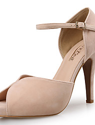 cheap -Women's Heels Pumps Peep Toe Party & Evening Office & Career Suede Almond Black Pink / 3-4