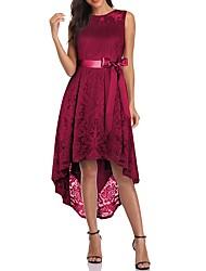 cheap -Women's Sheath Dress Knee Length Dress - Sleeveless Solid Color Lace Summer Casual 2020 Black Blue Purple Wine Gray S M L XL XXL 3XL 4XL 5XL