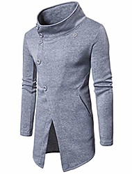 cheap -men's trench coat winter pullover long jacket button overcoat (tag xxl= us xl, gray)