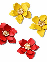 cheap -2 pairs chic boho matte flower statement stud earrings set with gold flower bud for women sister mom lover and friends (red+brilliant yellow)