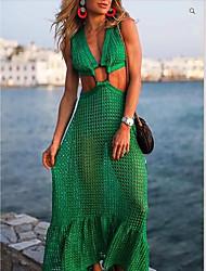 cheap -Women's Swing Dress Maxi long Dress - Sleeveless Solid Color Mesh Summer Strapless Elegant Sexy Party 2020 Green S M L XL XXL 3XL