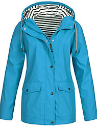 cheap -Women's Jacket Solid Colored Classic Sporty Spring Jacket Regular Sports & Outdoor Long Sleeve Polyester Coat Tops Navy
