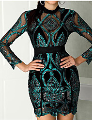 cheap -Women's A-Line Dress Short Mini Dress - Long Sleeve Print Sequins Patchwork Summer Hot Sexy Party Club 2020 Green S M L XL XXL
