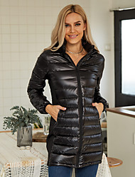 cheap -Women's Winter 90% Down Waterproof Parka Sports & Outdoor Going out Basic Patchwork Solid Colored Long Nylon Long Sleeve Hooded Black XS / S / M