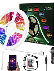 cheap -Upgrade 32ft 10M Music Synchronous Dimming Intelligent App Control Waterproof 5050 RGB LED Strip Light with IR24 Key Bluetooth Controller or with DC12V Adapter Kit