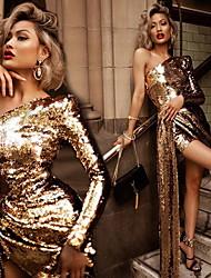 cheap -Women's Sheath Dress Short Mini Dress - Long Sleeve Solid Color Fall Elegant Party 2020 Gold S M L XL
