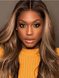 cheap -Synthetic Wig Curly Deep Wave Middle Part Lace Front Wig Long Light Brown Synthetic Hair 26 inch Women's Ombre Hair Middle Part Light Brown